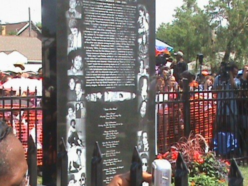 Back of Monument Lists Songs and History of Michael Jackson accomplishments.