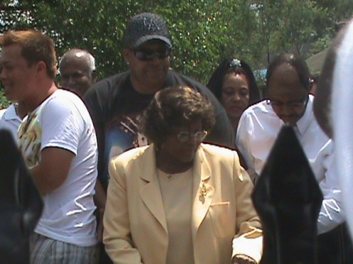 Katherine Jackson Mother of Michael Jackson on one of the hottest days in the yard of their modest 2 bedroom home which she had air conditioning installed for the event.