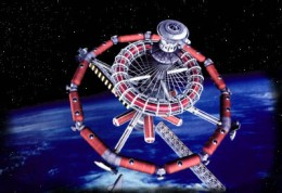 One vision for a rapid build space station is to use space shuttle external tanks.