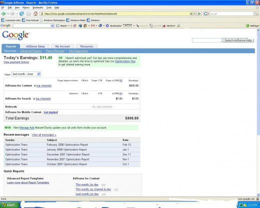 June 2008 Adsense Earnings (some info removed per google guidelines)