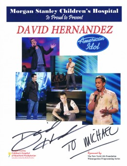 Because Hernandez was the first dropped from the show, he was the first rewarded with a trip to New York City and an appearance at the Morgan Stanley Children's Hospital.