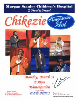 From Chikezie's performance on, I tried to get the Idols to sign the dated fliers, like this one.