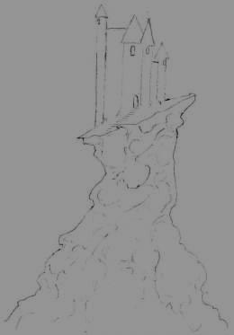 Drawing a fantasy castle.