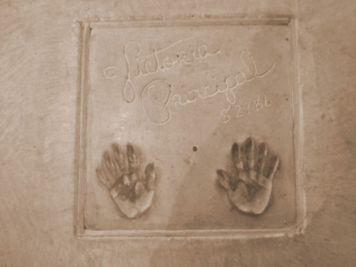 Victoria Principal's autograph and handprints