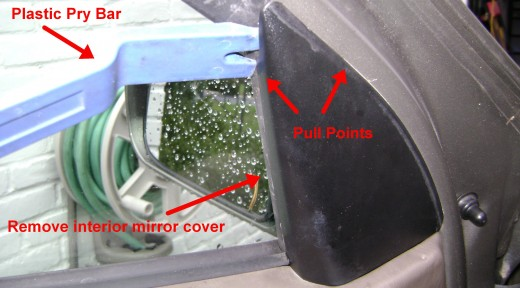 exposing the side mirror mounting nuts