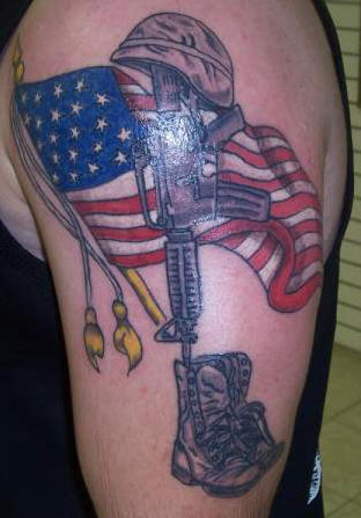 The fourth of my American Flag Tattoos is this Army Tattoo with the Flag in