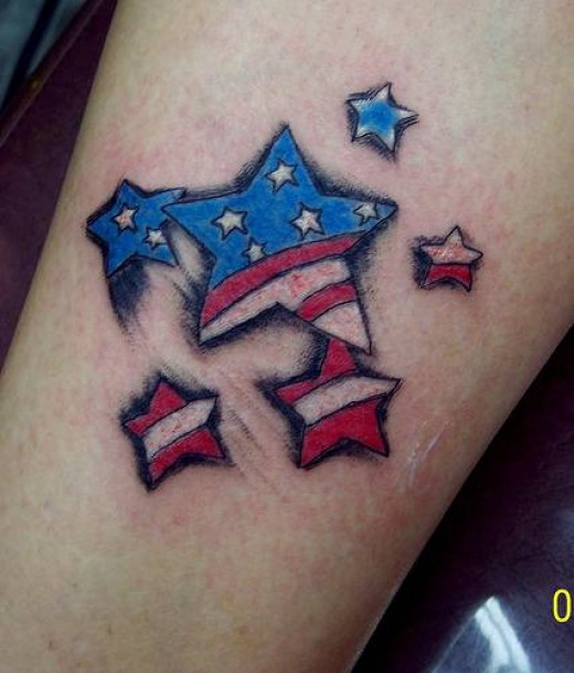 The fifth of my American Flag Tattoos is this cool stars Flag Tattoos.