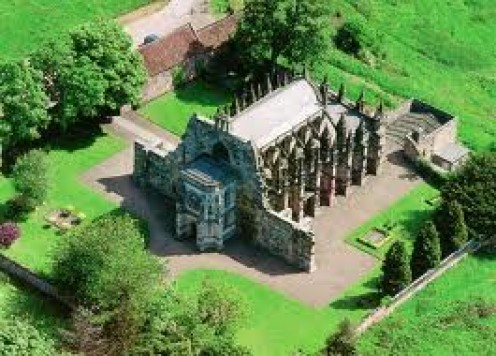 The Rosslyn Chapel, near Edinburgh, Scotland.