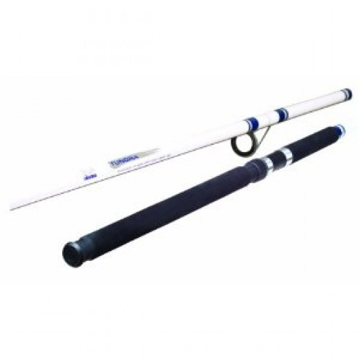 Okuma Fishing TU-150 Tundra 15-Foot 2-Piece Surf/Pier Spinning Rod (Large, White/Blue)