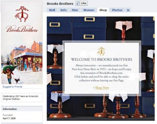 Brook Brothers retail store on Facebook, e-commerce built using Alvenda system.