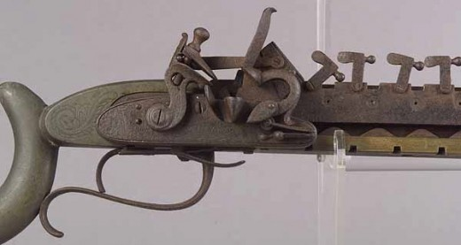 Lewis Jennings designed and patented a multiple shot rifle in 1821.