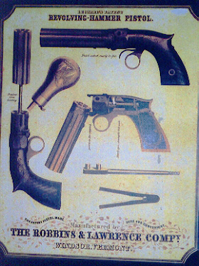 One of the few surviving color lithograph billboards for the pistol.