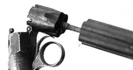 The new Revolving Hammer Pistol had a barrel separate from the chamber.  This made it easier to load the powder and shot.