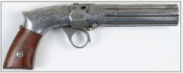 A detail of the Revolving Hammer Pistol produced by R&L.