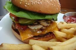 Yummy greasy cheeseburger