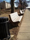 restored wooden benches at park