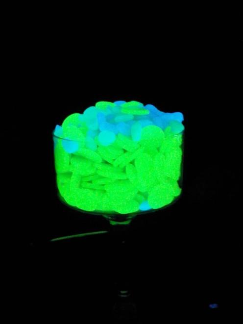 Green Flat Stones & Blue Pebbles