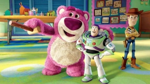 "Meet Lots-o-Huggin Bear, the newest ""Toy Story"" character.  He smells like Strawberries!"