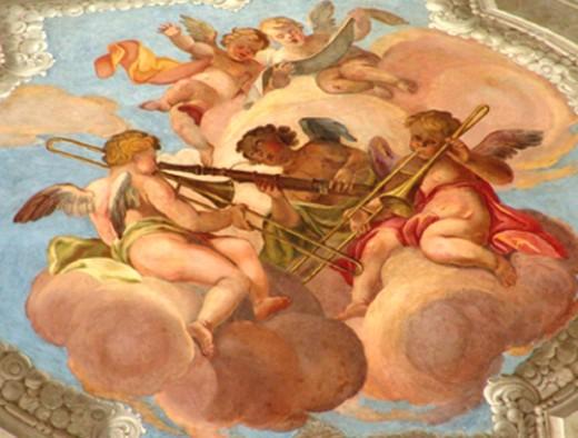 Detail, fresco above organ loft in Vienna's Peterskirche