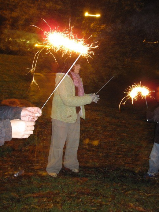 Bonfire Night, doing sparklers :)