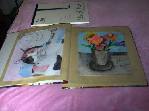 Here I have glued my cat drawing and my flower drawing into a scrapbook. These used to be framed, but I change out my frames every so often, and decided to put these in a scrapbook.