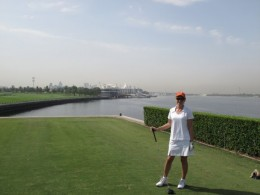 On the pontoon (which is the men's tee) at Dubai Creek Golf Club