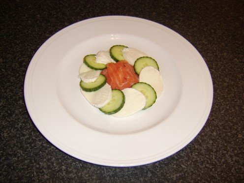 Smoked Salmon, Cucumber and Mozzarella arranged on plate