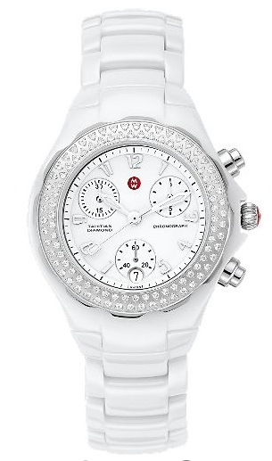 2011 Top Womens Watch Michele - shown here the 'Tahitian' Ceramic White Diamond Luxury Watch