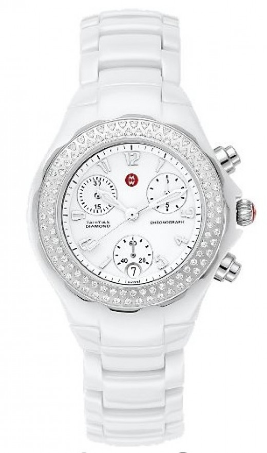 2011 Top Womens Watch Michele - shown here the 'Tahitian' Ceramic White Diamond Luxury Watch