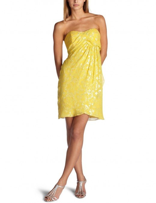 Nicole Miller's stunning strapless, yellow dress