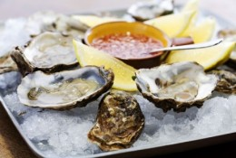 Oyster served with pepper mixture!