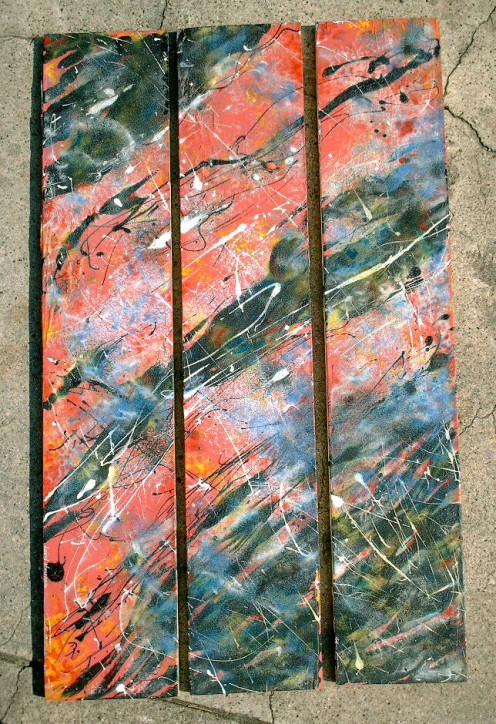 'Concious Cosmos' by Laird R. Haynes. mixed media on wood planks. copyright:  Laird R. Haynes,  2010.  All rights reserved.