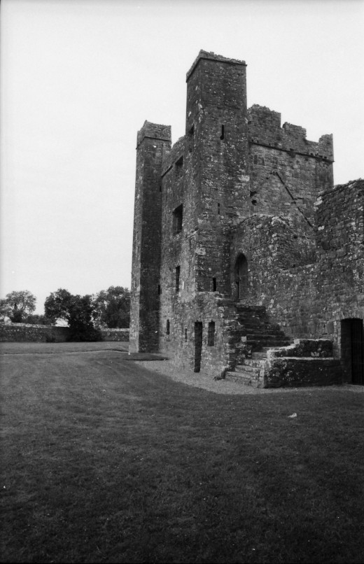 Side view of main tower. Manual 35mm SLR and scanned.