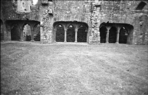 South cloister from outside. Manual 35mm SLR and scanned.