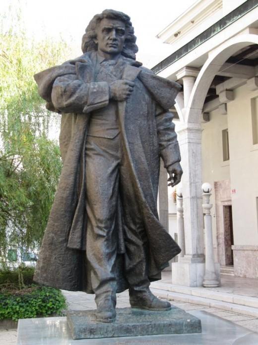 France Preseren statue before Preserens Theatre