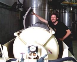 Robbi at wine press