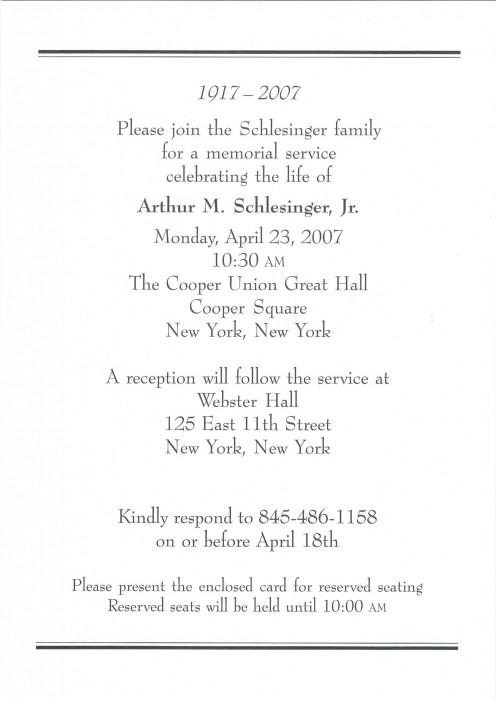 A half-page card describing the memorial occasion.