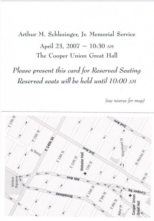 Front and back of smaller cards used by special guests for reserved seating.
