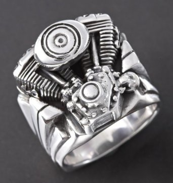 Men's Wildthings Twin Cam Engine Sterling Silver Ring