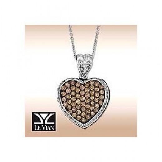 Le Vian 14k White-Gold Heart Pendant w/CHOCOLATE & WHITE Diamonds