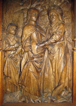 The Visitation: 16th-century French carving.
