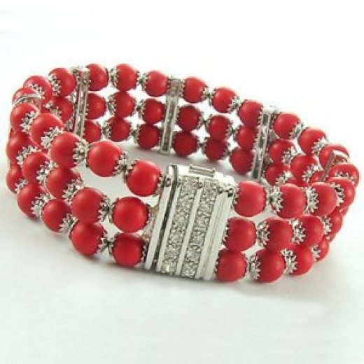 STERLING SILVER AND RED CORAL RHODIUM PLATED BRACELET