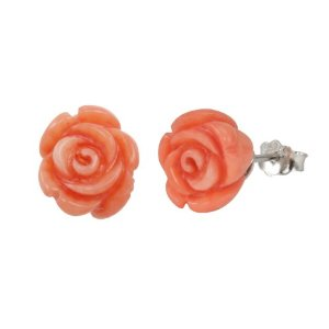 Red Coral Rose Platinum Overlay CAREFREE Sterling Silver Stud Earrings