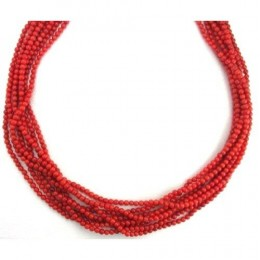 "Coral Necklace 8 Strands Coral Beads Beaded Necklace 18"" Long"