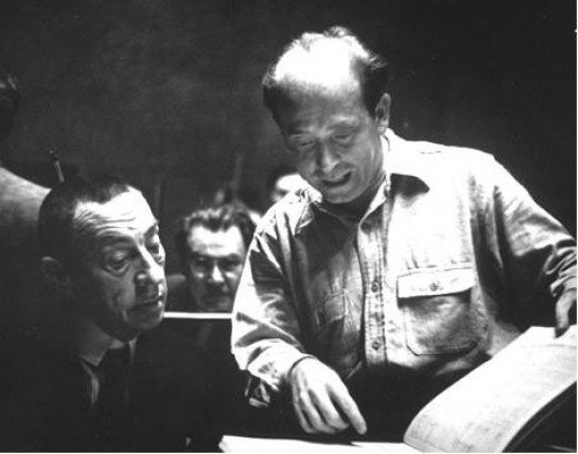 Rachmaninoff and Eugene Ormandy at rehearsal with the Philadelphia Orchestra in 1939