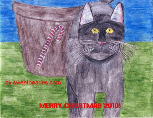 Here is a scanned copy of the cat drawing I made for my Christmas card.  After I scan my drawings I like to use photo editing software to make the colors more vibrant.