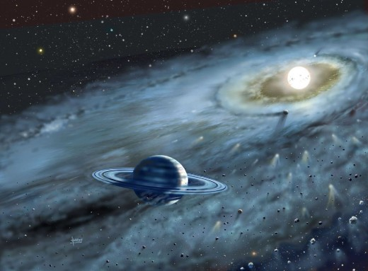 This is an artist depiction of a possible solar system formation around the star Fomalhaut.
