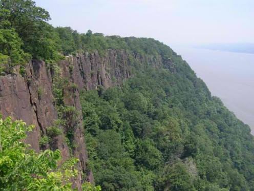 The Palisades are cliffs above the river in southern New York State, especially Rockland Country, and in parts of New Jersey.