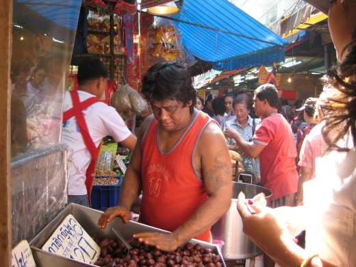 Roasted chestnuts are a very popular treat