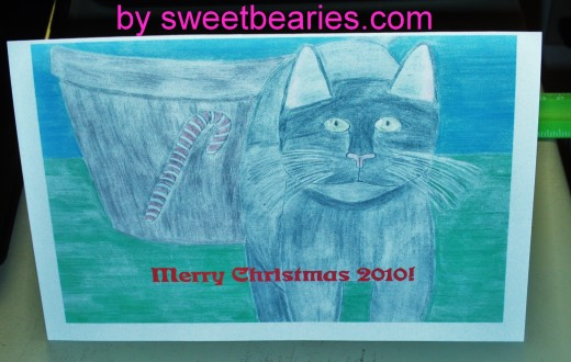 This is what the cat Christmas card looks like with red font.